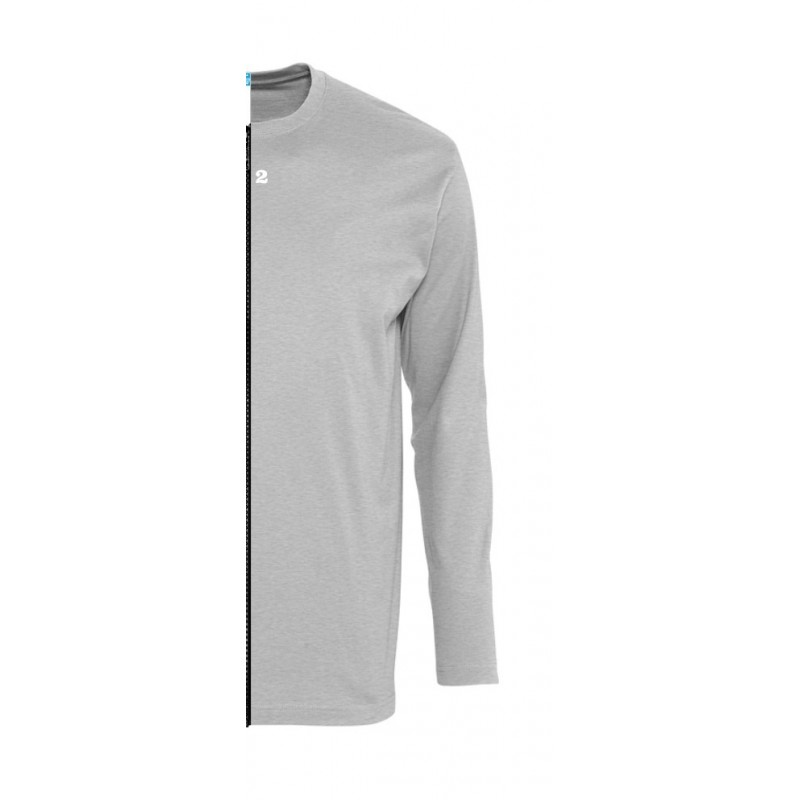 Home T-shirt bicolor man long sleeve right part grey melange - 12teeshirt.com