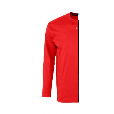 T-shirt bicolore man long sleeve left part red
