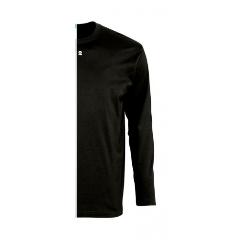 T-shirt bicolor man long right part sleeve black