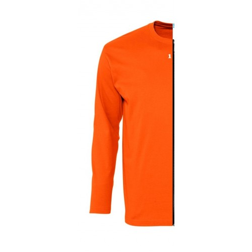 T-shirt bicolor man long sleeve left part orange