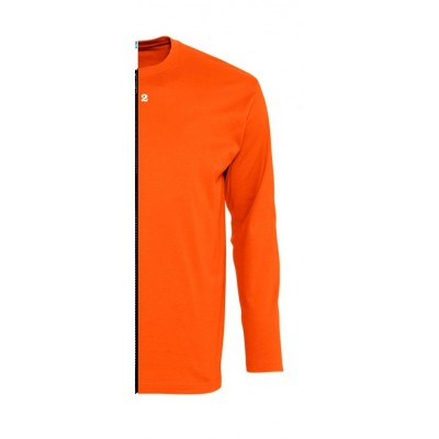 Home T-shirt bicolor man long sleeve right part orange - 12teeshirt.com