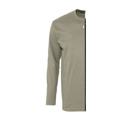 Home T-shirt bicolor man long sleeve left part khaki - 12teeshirt.com