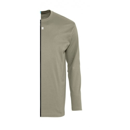 T-shirt bicolor man long sleeve right part khaki