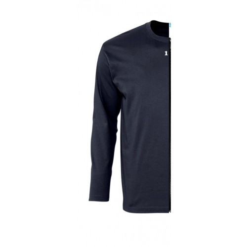 T-shirt bicolor man long sleeve left part navy blue