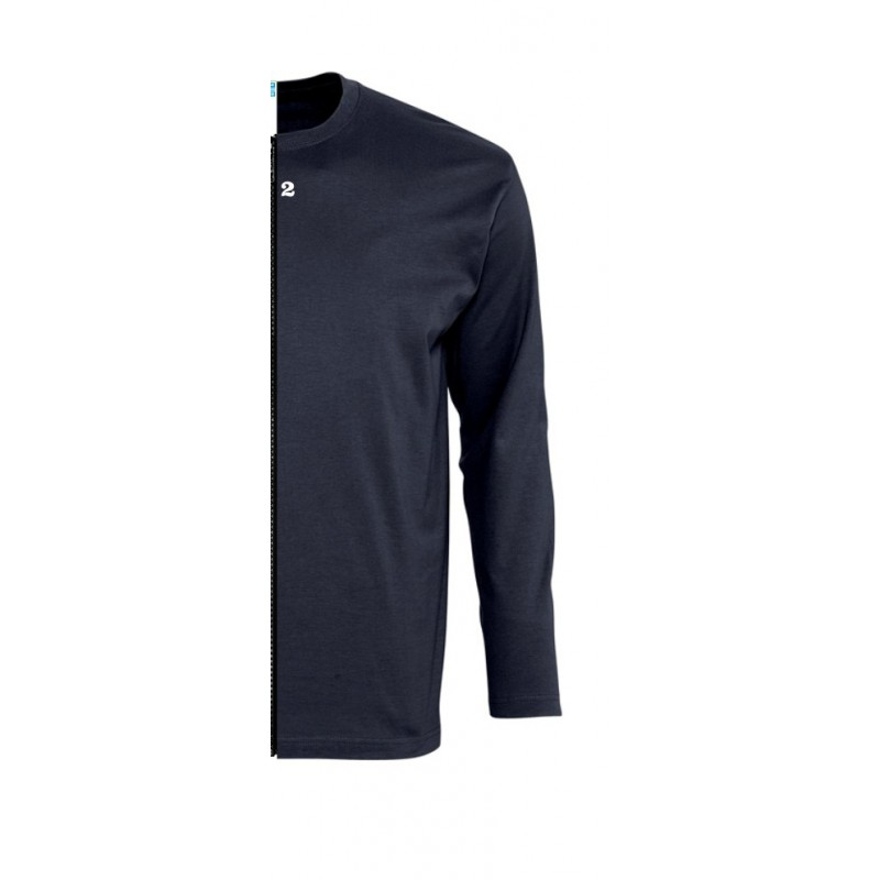 Home T-shirt bicolor man long sleeve right part navy blue - 12teeshirt.com