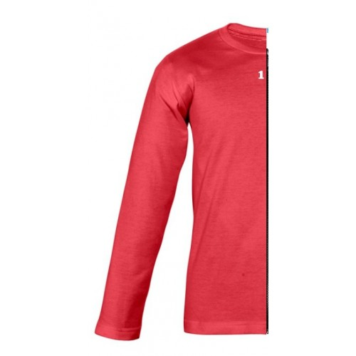 T-shirt bicolor children long sleeve left part red