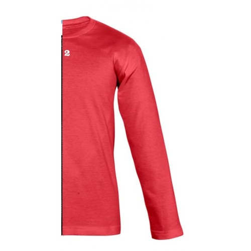 T-shirt bicolor children long right part sleeve red