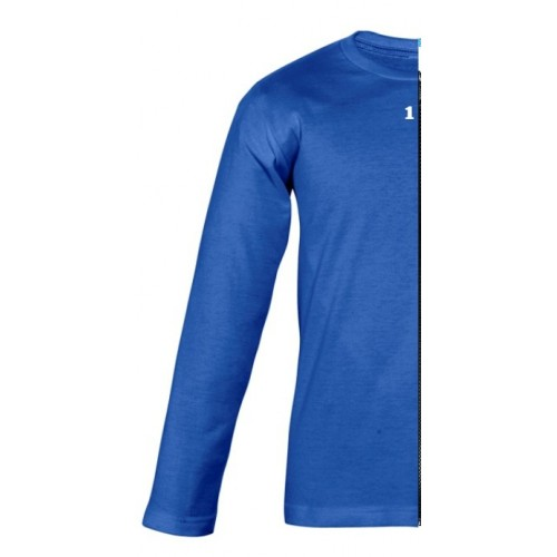 T-shirt bicolor children long sleeve left part royal blue