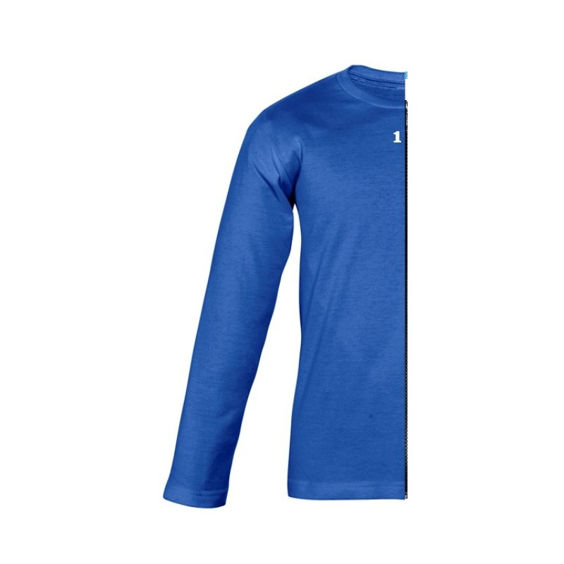 Home T-shirt bicolor children long sleeve left part royal blue - 12teeshirt.com