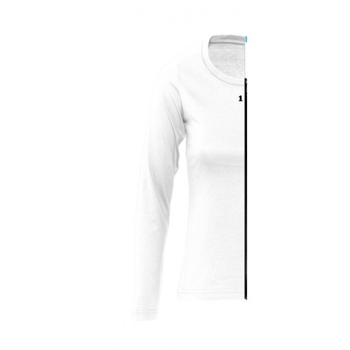 T-shirt bicolor woman long sleeve left part white