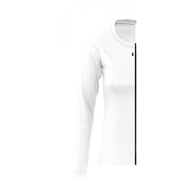 Home T-shirt bicolor woman long sleeve left part white - 12teeshirt.com