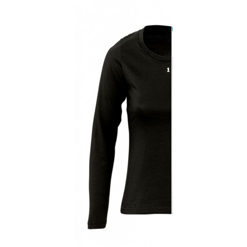 T-shirt bicolore woman long sleeve left part black