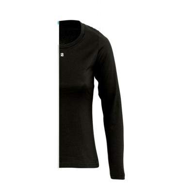 T-shirt bicolor woman long sleeve right part black