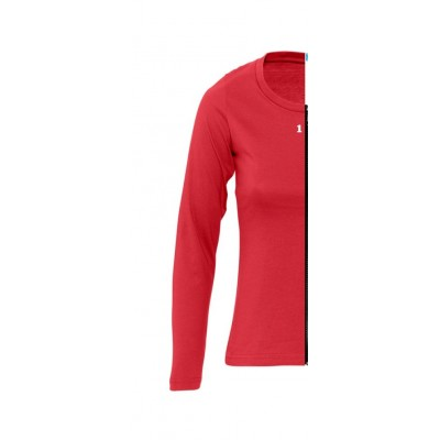 T-shirt bicolor woman long sleeve left part red