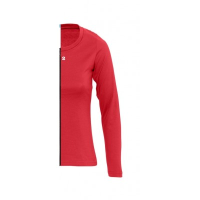 T-shirt bicolor woman long sleeve right part red
