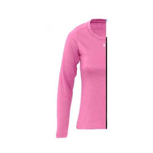 T-shirt bicolor woman long sleeve left part orchid pink