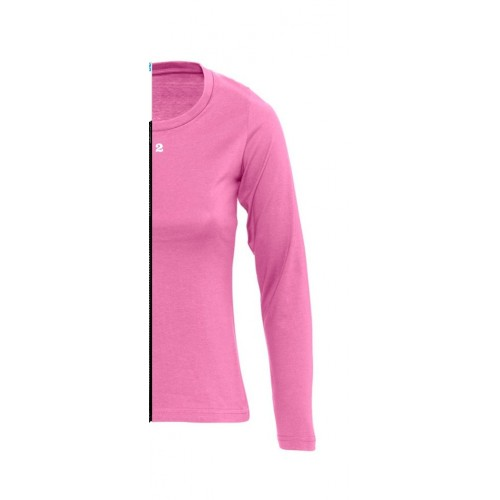 T-shirt bicolor woman long sleeve right part orchid pink