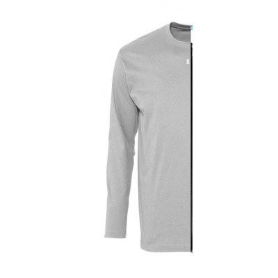 Home T-shirt bicolor man long sleeve left part grey melange - 12teeshirt.com