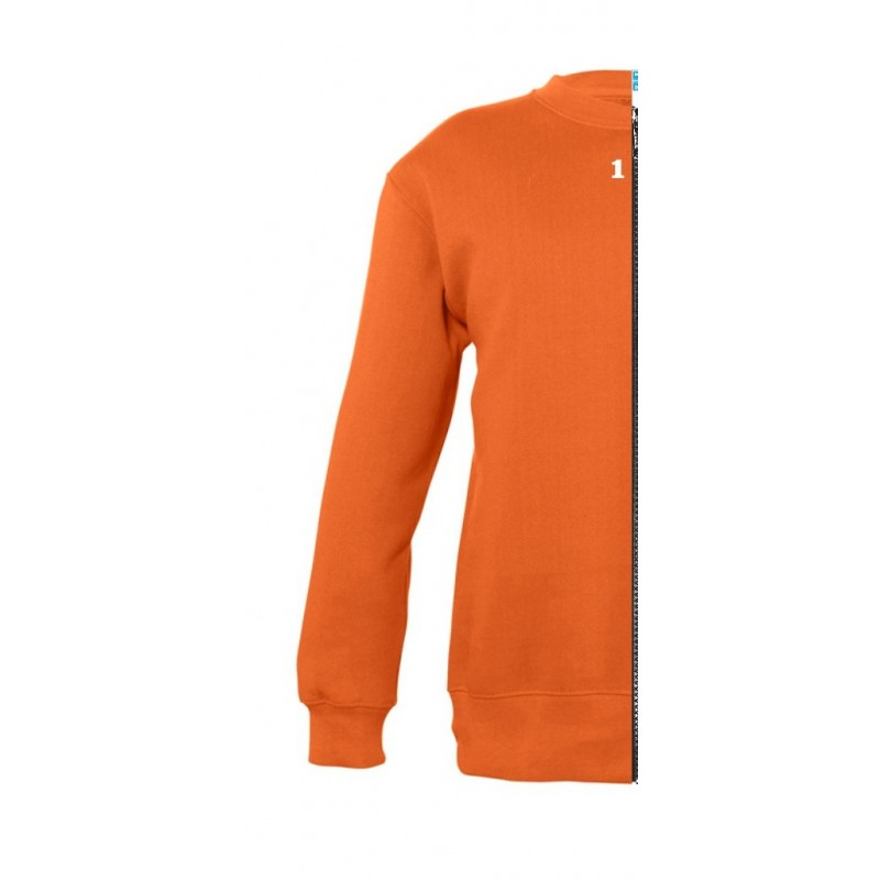 Home Sweat-shirt bicolor children left part orange - 12teeshirt.com