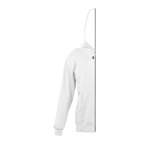 Sweat-shirt bicolor children left part with hood white
