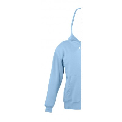Sweat-shirt bicolor children left part with hood sky blue