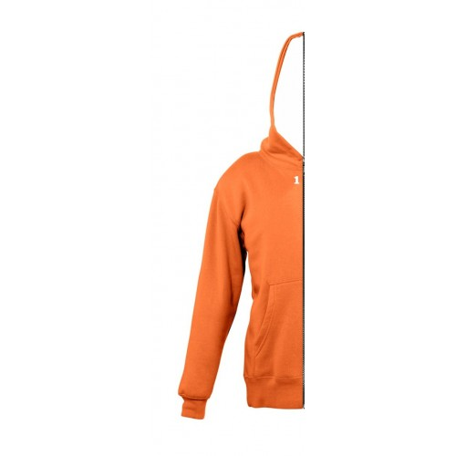 Sweat-shirt bicolor children left part with hood orange