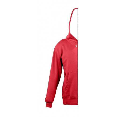Sweat-shirt bicolor children with left part hood red