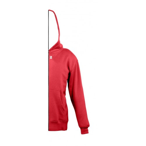 Sweat-shirt bicolor children with right part hood red