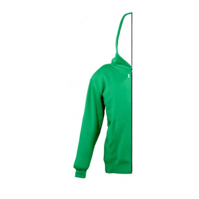 Sweat-shirt bicolor children left part with hood kelly green