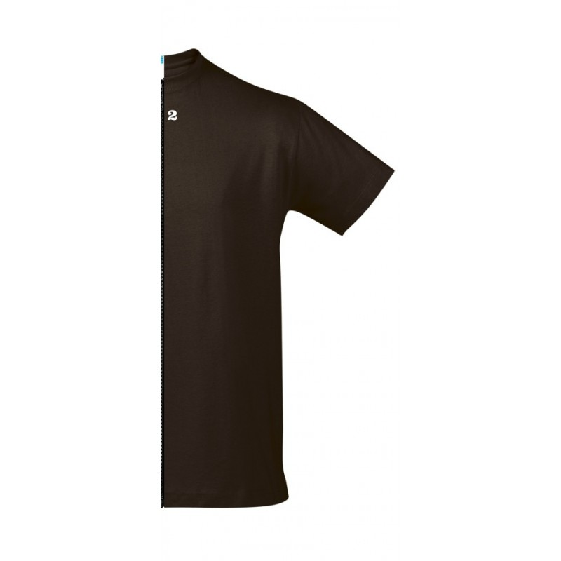 Home T-shirt bicolor man short sleeve right part chocolat - 12teeshirt.com