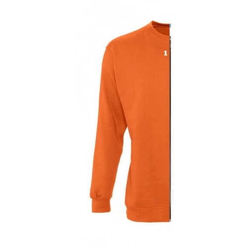 Sweat-shirt bicolore femme côté gauche orange
