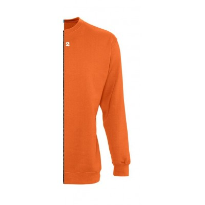 Sweat-shirt bicolore femme côté droit orange