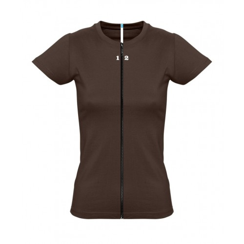 T-shirt separable woman short sleeve chocolat