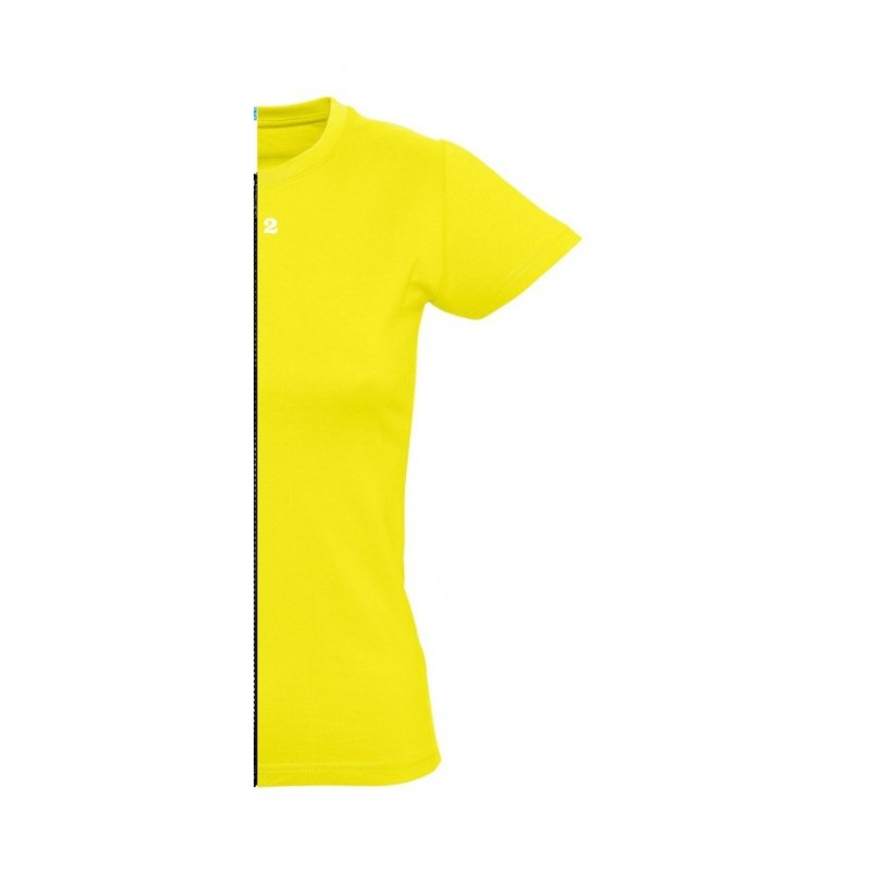 Home T-shirt woman short sleeve lemon yellow - 12teeshirt.com