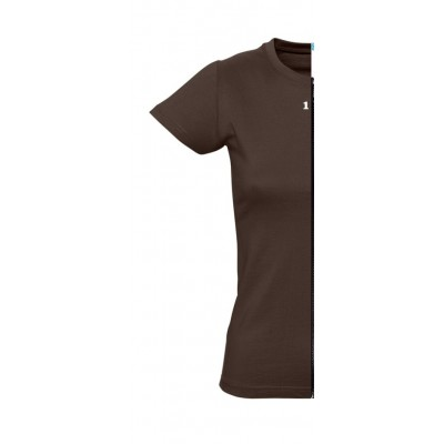 T-shirt woman short sleeve chocolat
