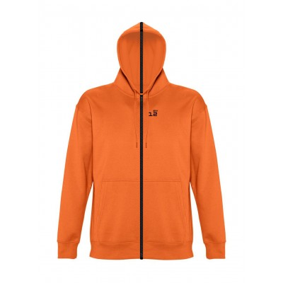 Sweat-shirt séparable homme avec capuche orange