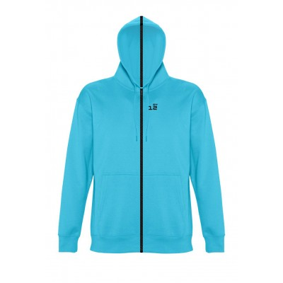 Sweat-shirt separable woman with hood turquoise