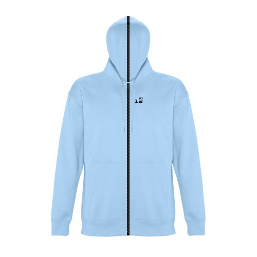 Sweat-shirt separable woman with hood sky blue