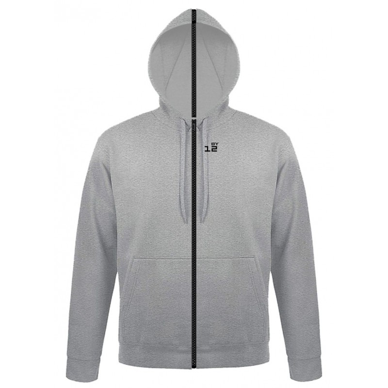 Home Sweat-shirt separable man with hood grey melange - by12.co.uk