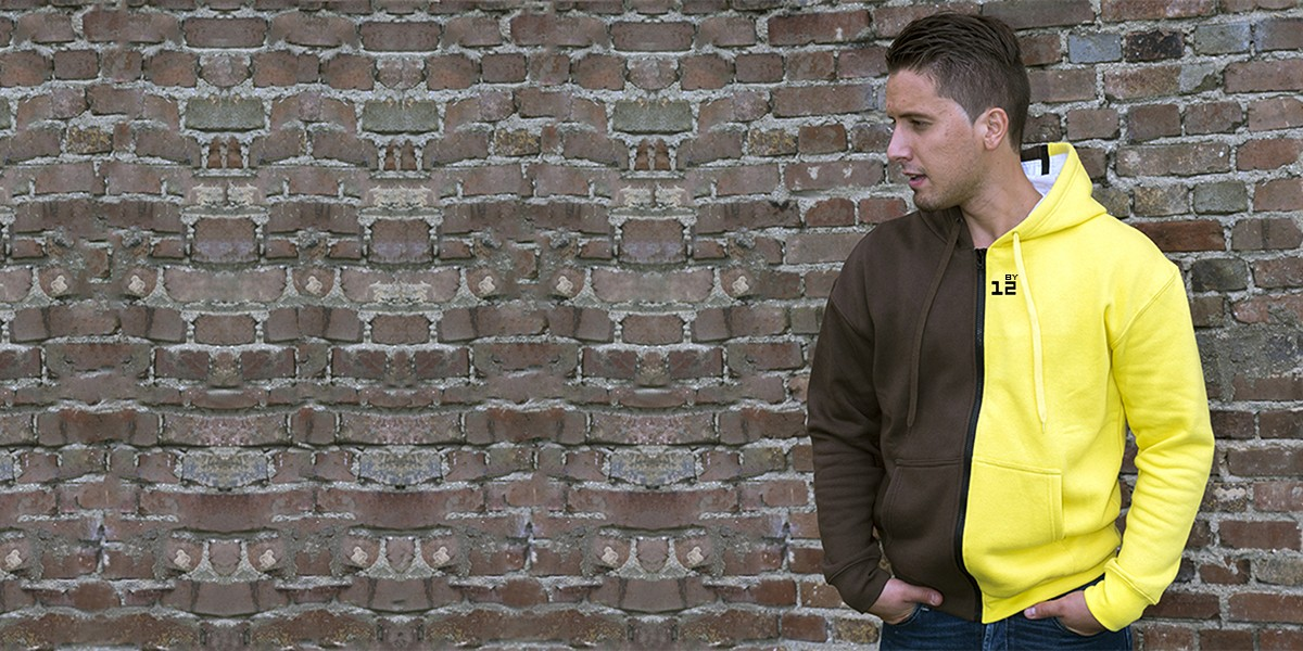 Hooded sweatshirt chocolat and yellow for men